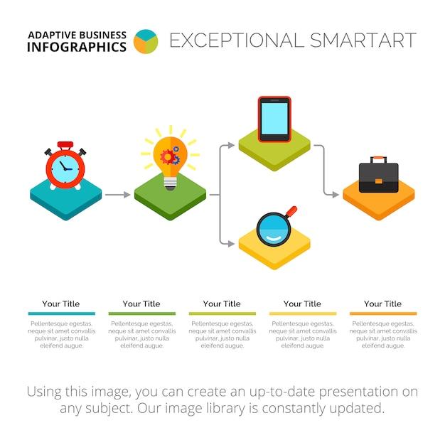 Infographic stroomdiagram schuifmalplaatje Gratis Vector