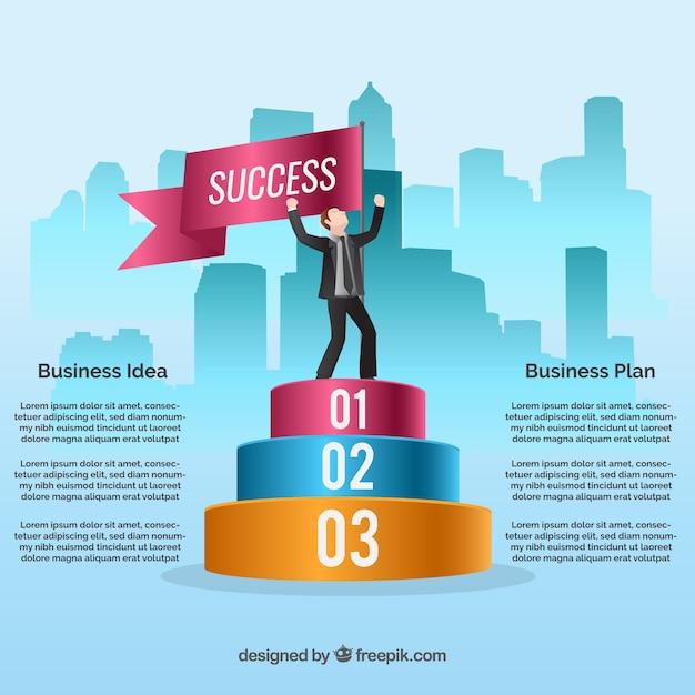 Infographic succesvolle zakenman Gratis Vector