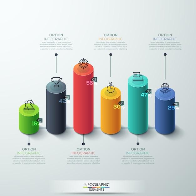 Infographic template modern cilinder staafdiagram ontwerp. Premium Vector