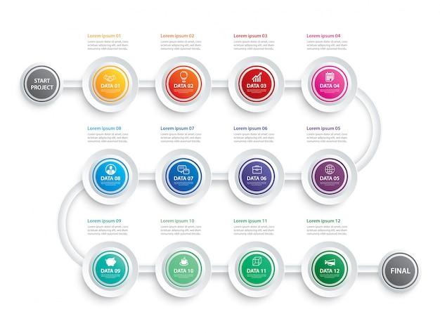 Infographic tijdlijn gegevenssjabloon bedrijfsconcept Premium Vector