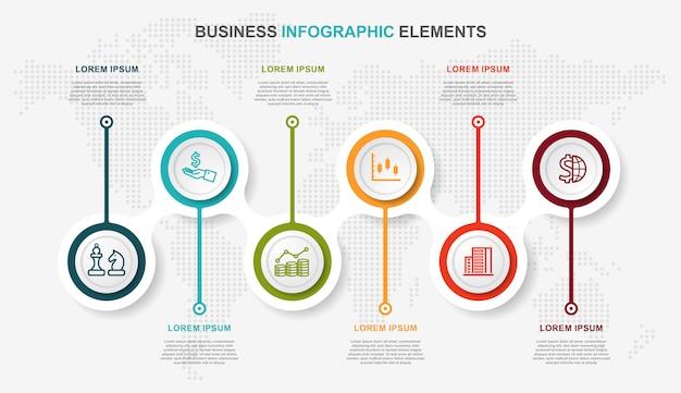 Infographic tijdlijn ontwerpsjabloon met papieren label, cirkels achtergrond. tijdlijn infographic ontwerp en marketing iconen. Premium Vector