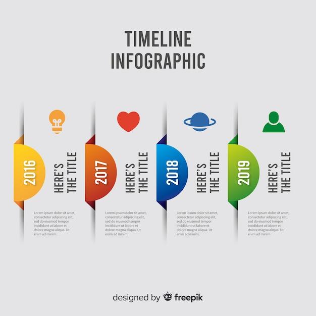 Infographic tijdlijn sjabloon platte ontwerp Gratis Vector