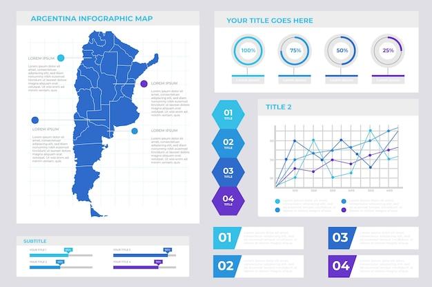Infographic van de kaart van argentinië in lineair ontwerp Gratis Vector