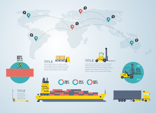 Infographic voor logistiek en transport industrie Premium Vector