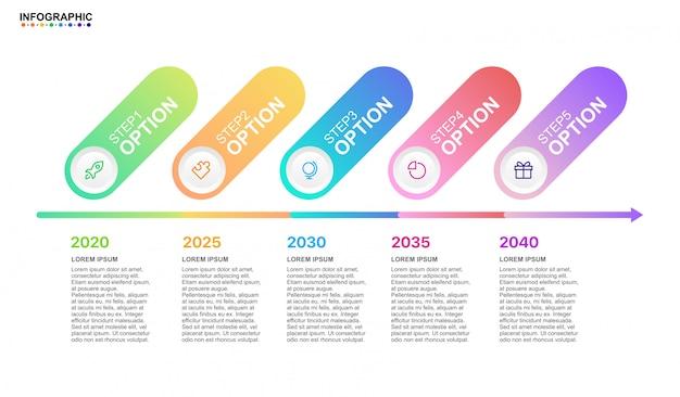 Infographic zakelijke tijdlijn 5 stap optie met moderne elementen Premium Vector
