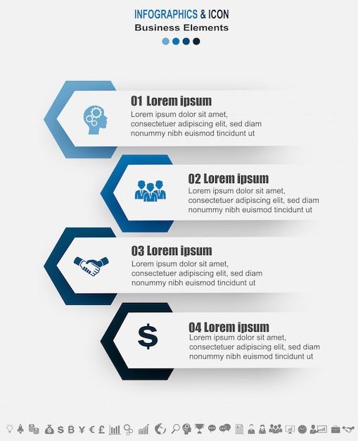 Infographic zakelijke tijdlijn proces grafieksjabloon. Premium Vector