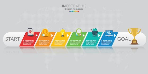 Infographicelementen voor inhoud, diagram, stroomschema, stappen, delen, chronologie, werkschema, grafiek. Premium Vector