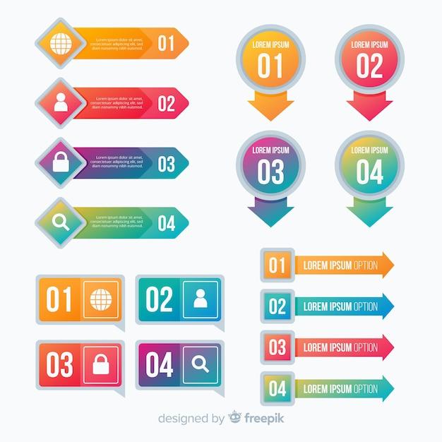 Infographicmalplaatje in kleurrijke gradiëntstijl Gratis Vector