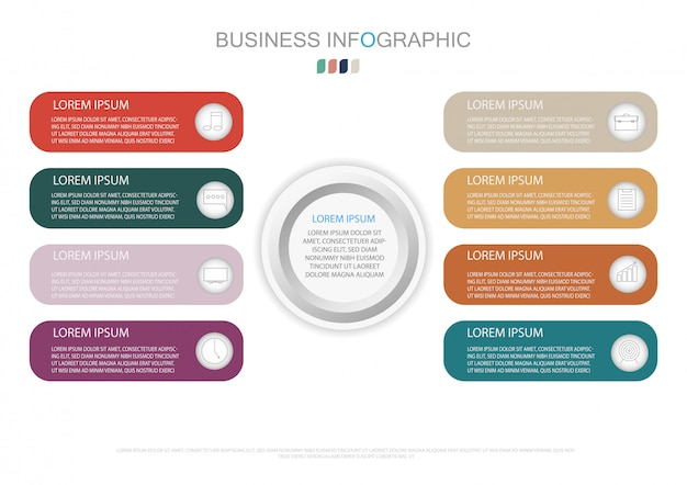 Infographicmalplaatje met 3d document etiket en 8 opties Premium Vector