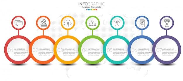 Infographicmalplaatje met stappen en proces voor uw ontwerp. Premium Vector