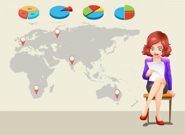 Infographicontwerp met wereldkaart en onderneemster Gratis Vector