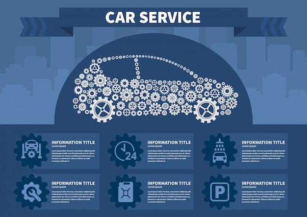 Infographics auto service vectorillustratie. Premium Vector