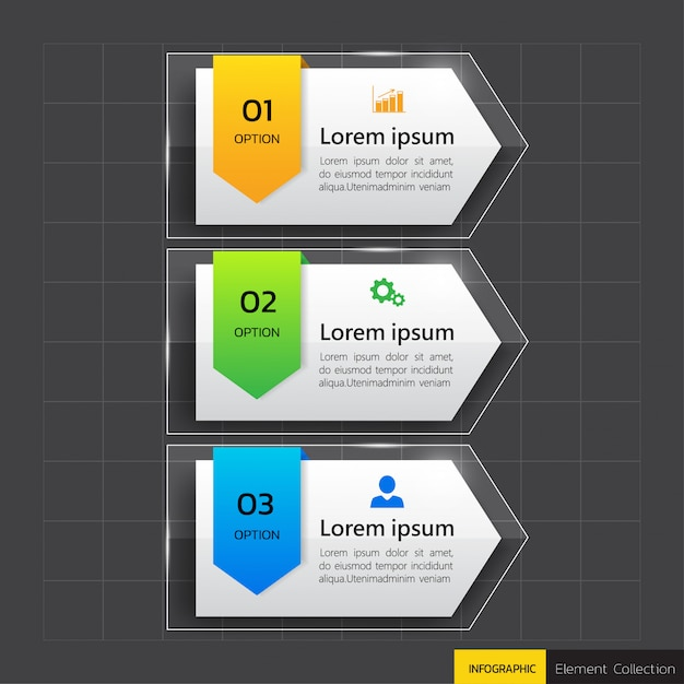 Infographics banner sjabloon in glas of glanzende stijl Premium Vector