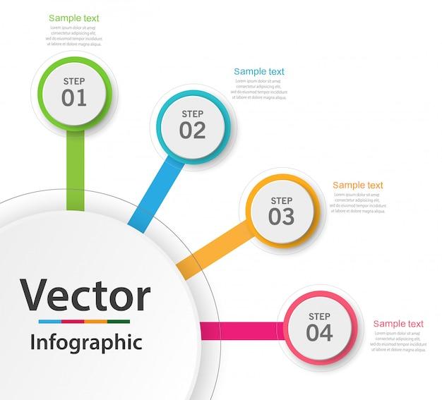 Infographics bedrijfsconcept met 4 stappen of opties Premium Vector