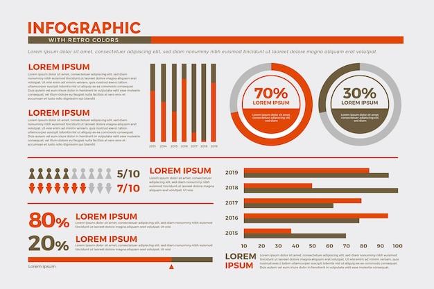 Infographics collectie met retro kleuren Gratis Vector