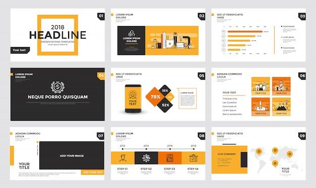 Infographics diasjabloon Premium Vector