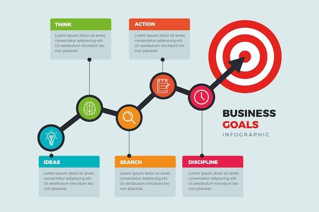 Infographics doelen concept Gratis Vector