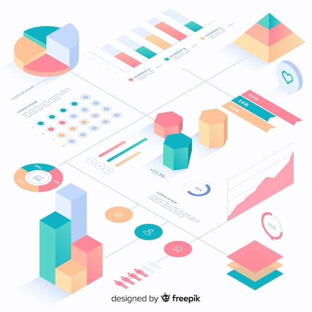 Infographics element collectie Gratis Vector