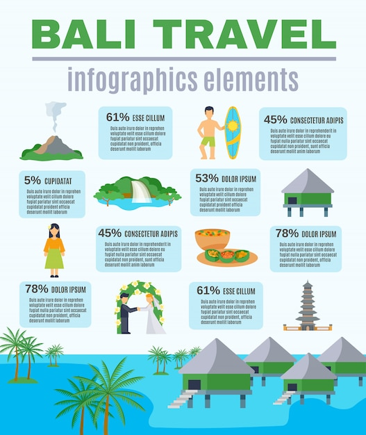 Infographics elementen bali reizen Gratis Vector