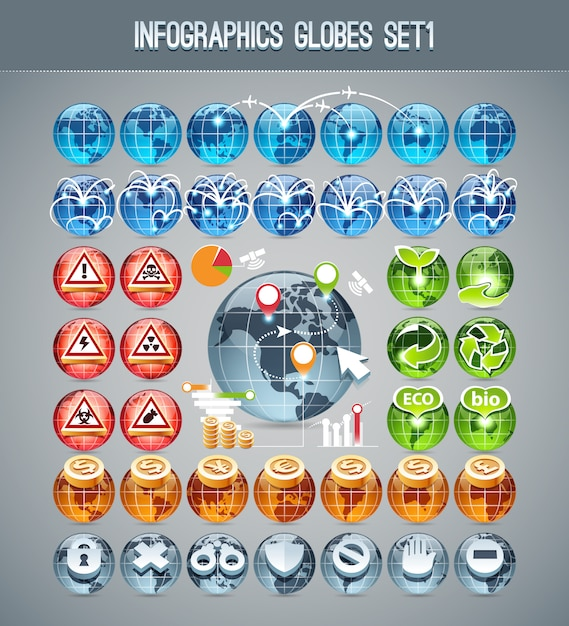 Infographics globes set1 Premium Vector