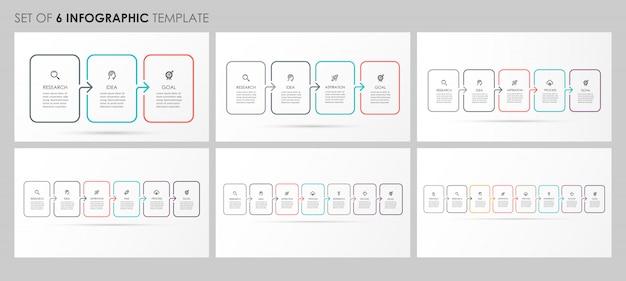 Infographics instellen met pictogrammen en 3, 4, 5, 6, 7, 8 opties of stappen. bedrijfsconcept. Premium Vector