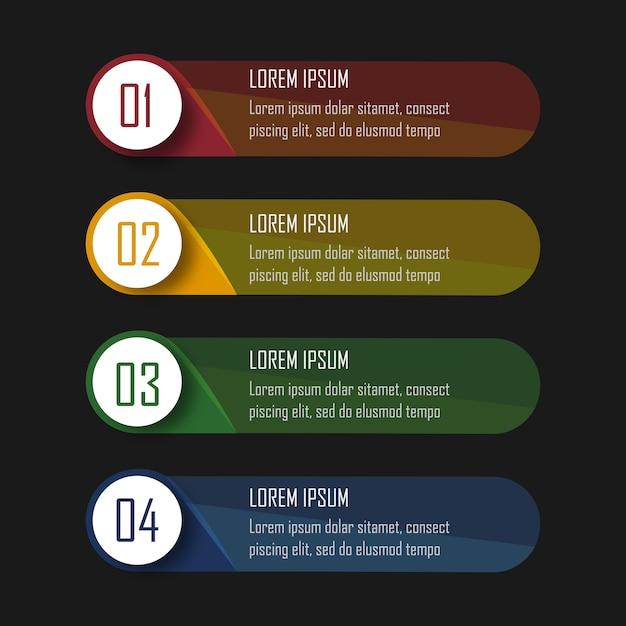 Infographics met 4 stappen Premium Vector
