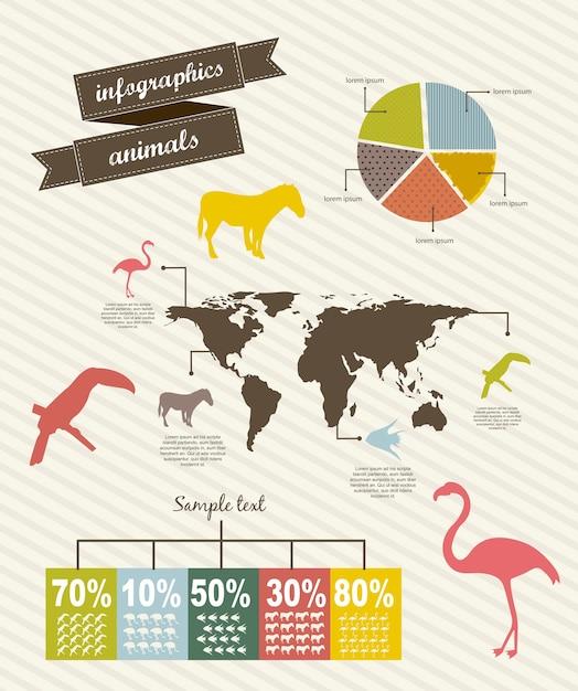 Infographics met bar vintage stijl vectorillustratie Premium Vector