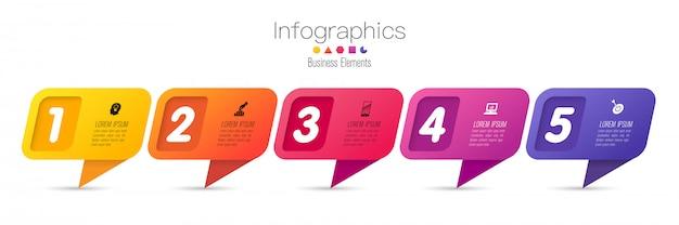 Infographics met stappen en opties Premium Vector