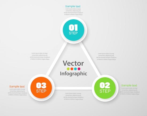 Infographics nummeropties sjabloon met kleurrijke cirkels en 3 stappen Premium Vector