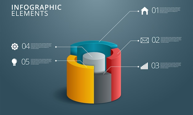 Infographics ontwerp en marketing pictogrammen Premium Vector