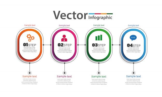 Infographics ontwerp vector met 4 opties, stappen of processen Premium Vector