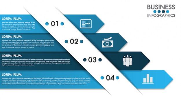 Infographics ontwerpsjabloon met 4 opties concept vector Premium Vector
