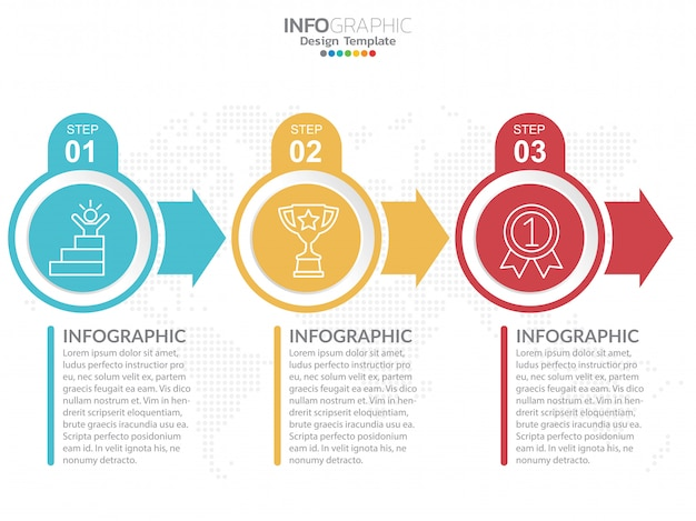 Infographics ontwerpsjabloon met opties. Premium Vector