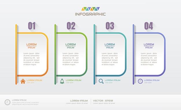 Infographics ontwerpsjabloon met vier stappen Premium Vector