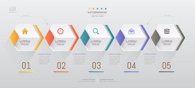 Infographics ontwerpsjabloon met vijf stappen Premium Vector