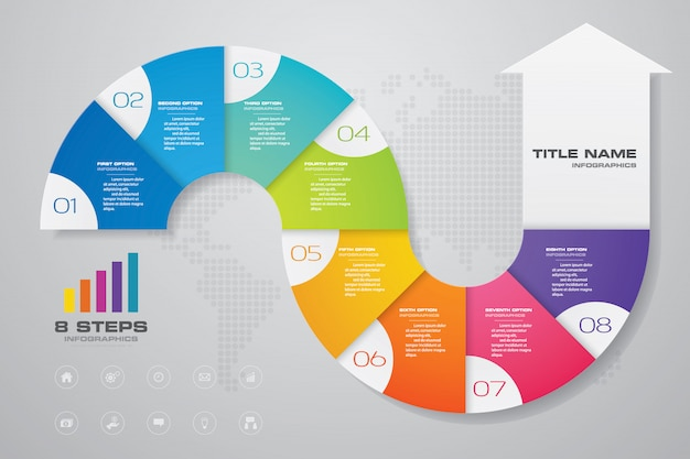 Infographics pijl grafiek ontwerpelement. Premium Vector