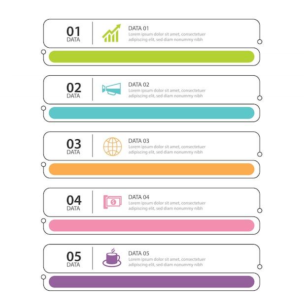 Infographics tabblad dunne lijn index met 5 datasjabloon Premium Vector