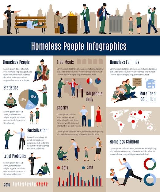 Infographics van daklozen delen de groei van daklozen in de samenleving Gratis Vector