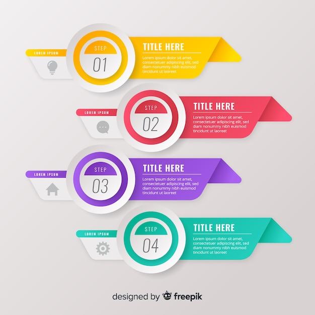 Infographics van de gradiënt de vlakke kleurrijke stap Gratis Vector