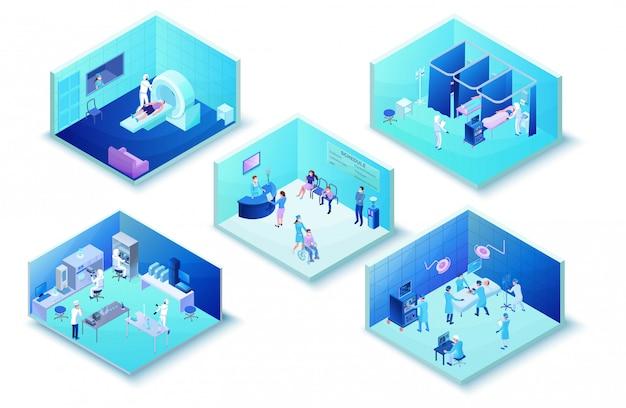 Infographics van de medische kliniek van het ziekenhuis met 2019-ncov coronavirus-patiënten Premium Vector