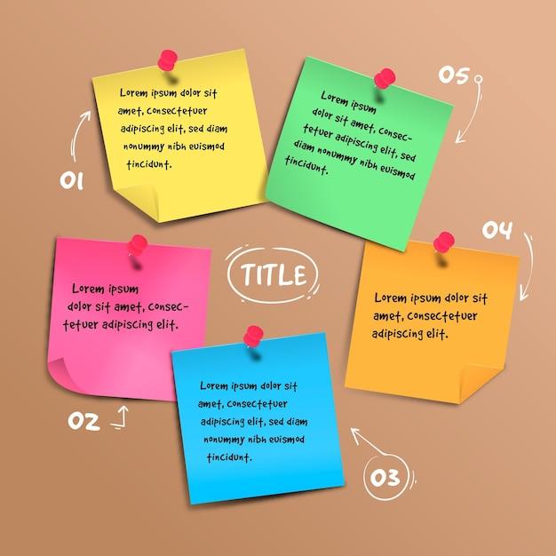 Infographics van post-its boards Gratis Vector
