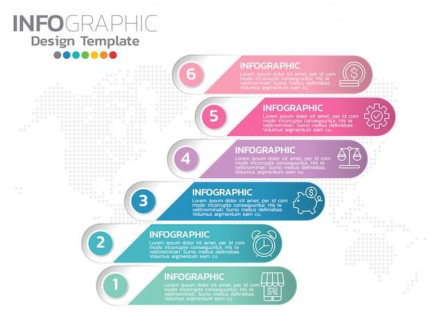 Infographics voor bedrijfspictogrammen en 6 opties of stappen. Premium Vector