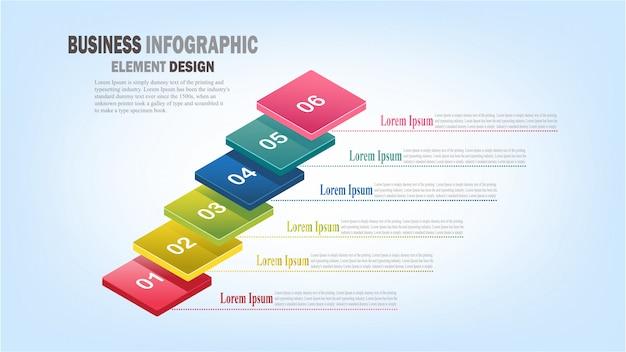 Infographics zakelijke sjabloon 3d-stappen voor presentatie, verkoopprognose, webontwerp, verbetering, stap voor stap Premium Vector