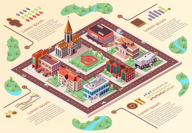 Infographicsbeeldverhaal van de vlakke banner grote stad lay-out. Premium Vector