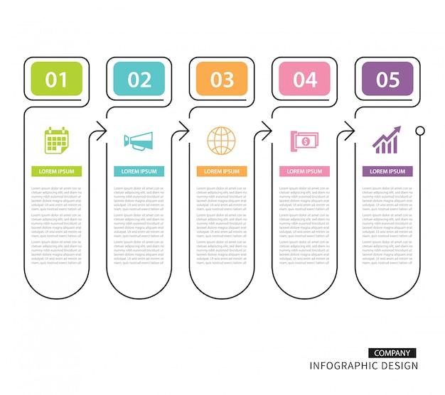 Infographicstabblad in dunne lijnindex met gegevenssjabloon 5 Premium Vector