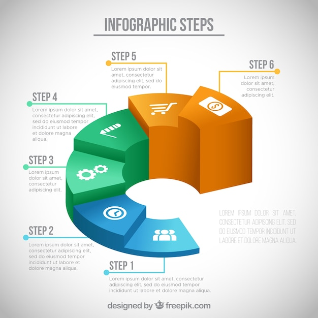 Infographicstappen in isometrisch ontwerp Gratis Vector