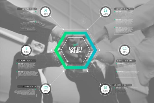 Infographiczaken met foto Gratis Vector