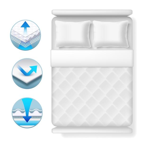 Infopictogrammen over bedmatras. realistisch wit bed met kussens en deken Premium Vector