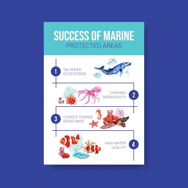 Informatie over world oceans day concept met zeedieren, octopus, walvis, nemo en koraal aquarel vector Gratis Vector