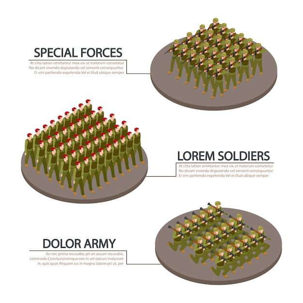 Informatiebanners voor leger, leger, soldaten Premium Vector